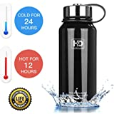 Water Bottle Insulated - Cold 24 Hours Hot 12 Hours - 21 OZ - 50 OZ, Stainless Steel Wide Mouth Vacuum Thermos with Medal Strainer by HvDrink
