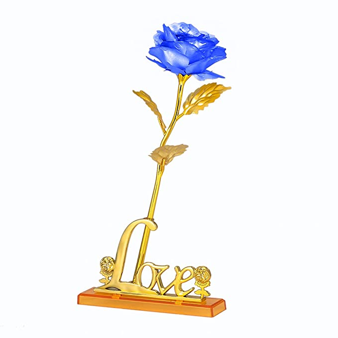 Amazon.com: 24K Gold Foil Artificial Forever Rose with Stand, Gold Rose for Valentines Day Anniversary Mothers Day Birthday Great Gift for Her for Mom for ...