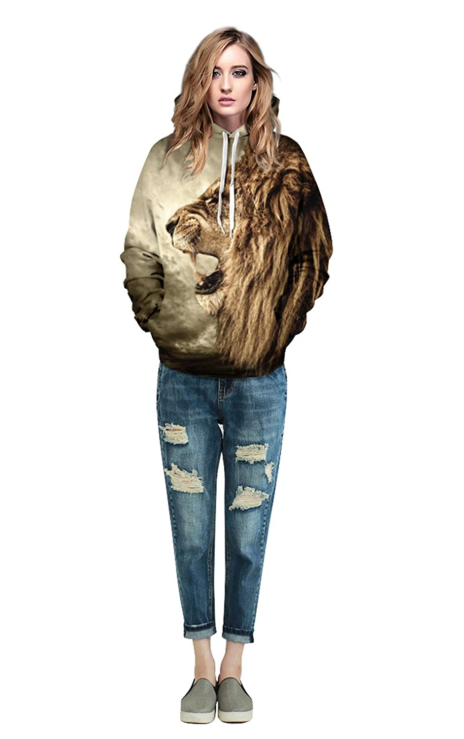 Unisex Simulation Animal Printing Pullover Pockets Hooded Sweatshirt Hoodies