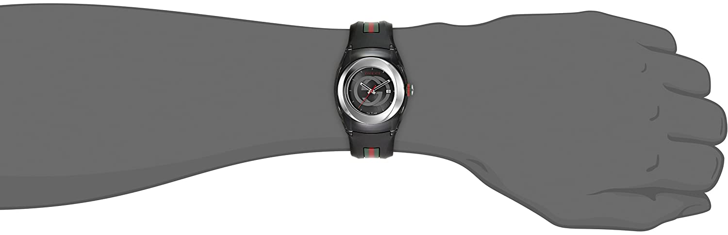934e2624157 Gucci SYNC L YA137301 Stainless Steel Watch with Black Rubber Band   Amazon.ca  Watches