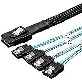 VANDESAIL Mini SAS SATA変換 ケーブル Mini-SAS to 4x SAS SATA ケーブル SFF-8087 ラッチ付 (1m)