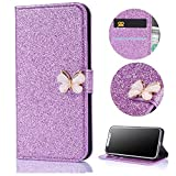 Stysen Wallet Case for Huawei P9 Lite,Shiny Purple Bookstyle with Strass Butterfly Bowknot Buckle Protective Wallet Case Cover for Huawei P9 Lite-Butterfly,Purple