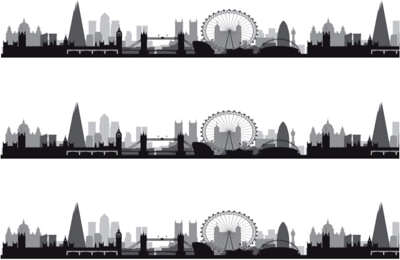 Sprinkles /& Toppers Ltd London Skyline Silhouette Edible Icing Cake Ribbon Side Strips