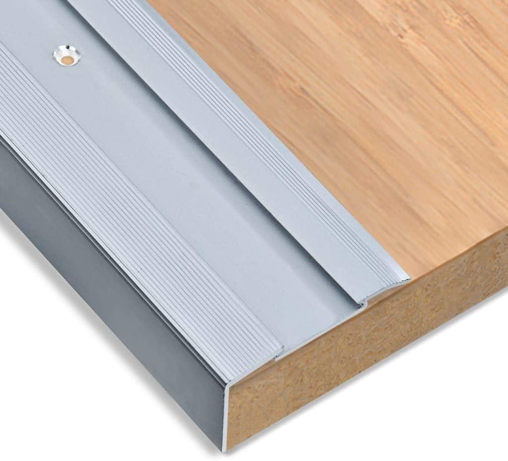 vidaXL 15x Treppenkante L-Form Treppenkantenprofil Treppenwinkelprofil Treppenstufenprofil Treppenprofil Winkel Schiene Aluminium 100cm Silbern