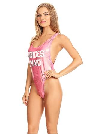 f80dfed33b Amazon.com  Retro 80 s High Cut One Piece Bride Bridesmaid Swimsuit ...