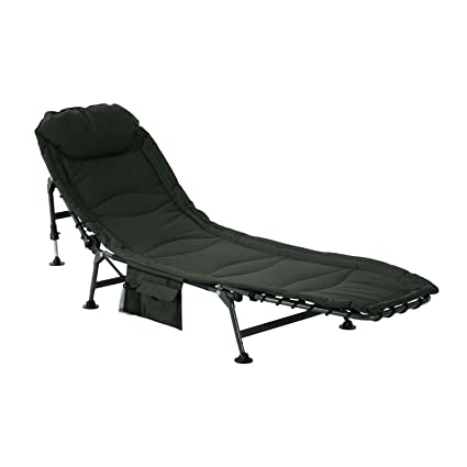 Outsunny Folding Recliner Lounge Chair W/Side Storage (Dark Green)