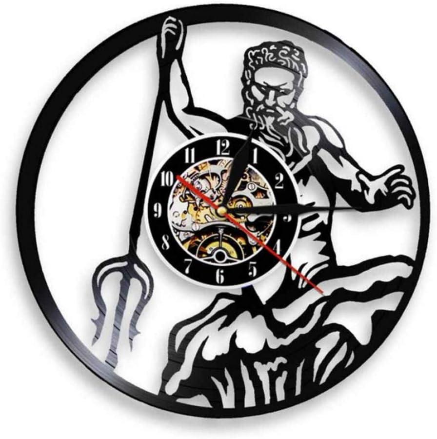 Dwqlx Poseidón Mitología Griega Dios De Neptuno Reloj De Pared Mito Grecia Dios del Mar Disco De Vinilo Reloj De Registro Vintage Arte De Conchología Vintage