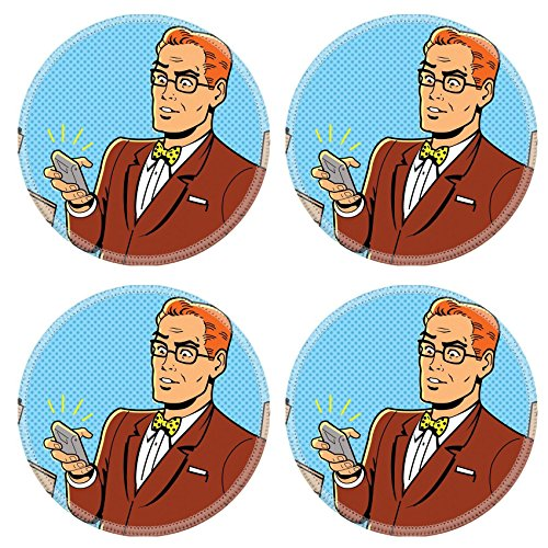 1950 Desk Phone - MSD Round Coasters Non-Slip Natural Rubber Desk Coasters design 20686993 Ironic Illustration of a Retro 1940s or 1950s Man With Glasses Bow Tie and Modern Smartphone
