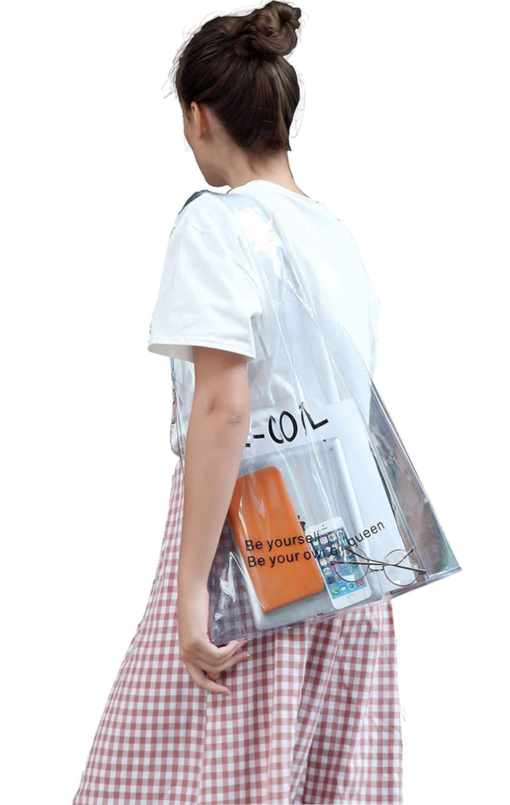 New Style PVC Transparent Handbag Shoulder Bag Shopping Bag Jelly Bag Beach Bags For Women,Girls Clear Totes (White)