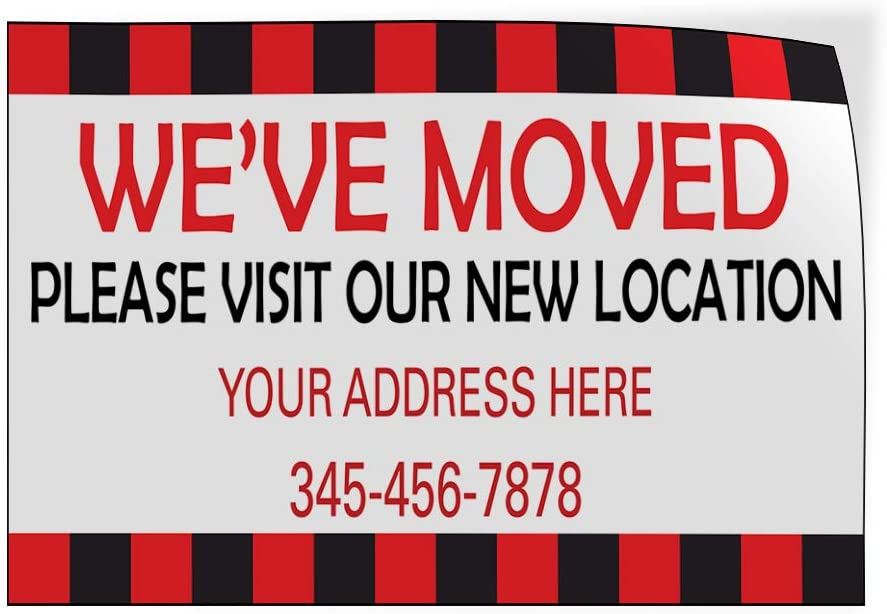 Custom Door Decals Vinyl Stickers Multiple Sizes Weve Moved New Location Address Number Business Weve Moved Outdoor Luggage /& Bumper Stickers for Cars White 54X36Inches Set of 5