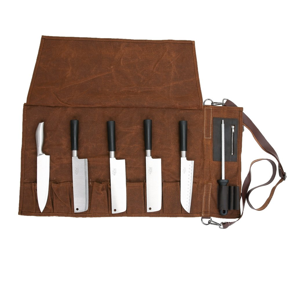 16 Oz Waxed Canvas Chef's Knife Roll Up Storage Bag Waterproof Multi Purpose Knife Tote Bag with 10 Slots 3 Kitchen Utensils & 1 Zipper Pocket - Easily Carried Handle & Adjustable Shoulder HGJ38 by Hersent (Image #2)