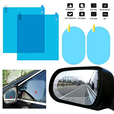 Car Rearview Waterproof Film - Side Window Anti Fog Film Protective Film Anti-Glare Waterproof Rain Car Sticker Transparent Film 4PCS (200×175mm+98×135mm)
