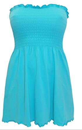716e00b675c EX Yours Strapless Aqua Boob Tube Smocked Top Plus Size 16 18 20 22 24 26  28 30 32 (18)  Amazon.co.uk  Clothing