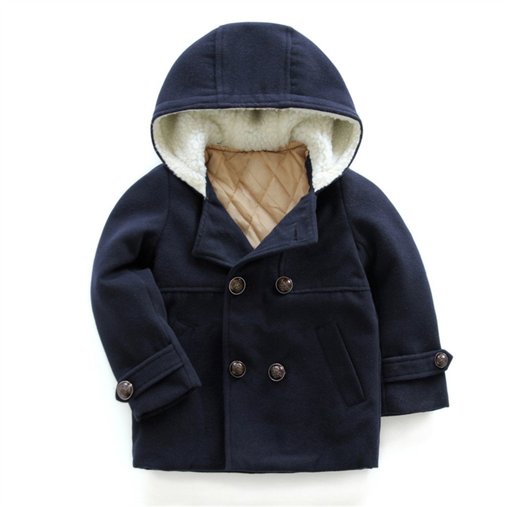 UWESPRING Kids Boys Dress Coat Wool Hooded Trench Winter Fleece Outerwear Jacket
