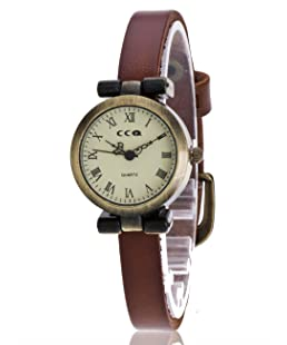 COOKI Women Quartz Watches Roman Numeral Analog Retro Ladies Watches Girl Watches Thin Leather Female Watches-A91 (Brown)
