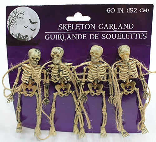 60 Inches Scary Skeleton Garland Dangling Bone Halloween Decor (Pack of 3)]()