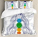 Ambesonne Chakra Duvet Cover Set King Size, Spiritual Girl in Lotus with Colorful Chakra Stones Yoga Meditation Relax Zen Theme, Decorative 3 Piece Bedding Set with 2 Pillow Shams, Multicolor