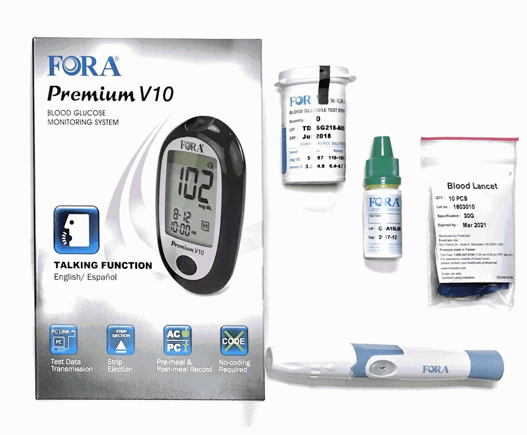 FORA Premium V10 Blood Glucose Full Monitoring Kit with Lancing Device, 10 Lancets, 10 Test Strips, Control Solution & Sporty Carrying Case