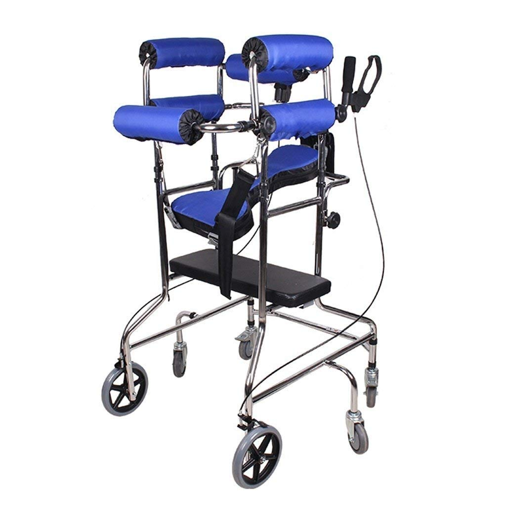 Folding Six-Wheel Roller Walker with Seat Adjustable Height Aluminum Walking Frame Suitable for Elderly Disabled Lower Limb Training Standard Walker Auxiliary Walking Safety Walker (Color : Blue) by YL WALKER (Image #2)