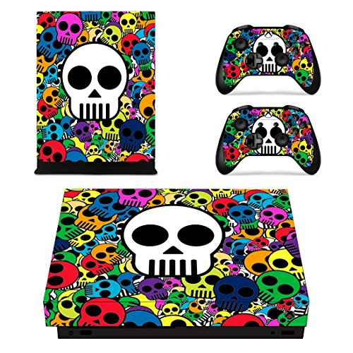Extremerate Colorful Skulls Full Set Faceplates Skin Stickers For Xbox One X Console Controller With 2 Pcs Home Button Decals