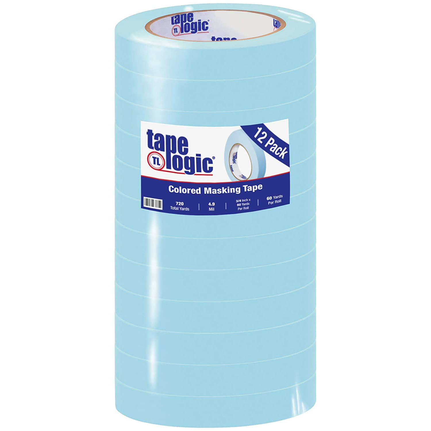 Aviditi Tape Logic 3/4 Inch x 60 Yards, General Purpose Colored Masking Tape, Light Blue (Pack of 12) - Great for Home, Office, Arts, Crafts, DIY, Labeling and Coding