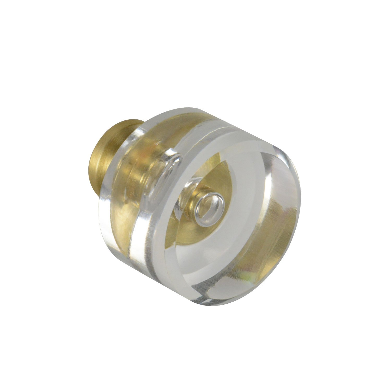 #G-100 CKP Brand Elegance Glass Collection 1-1/8 in. (29mm) Clear Glass Knob with Satin Brass Base - 10 Pack