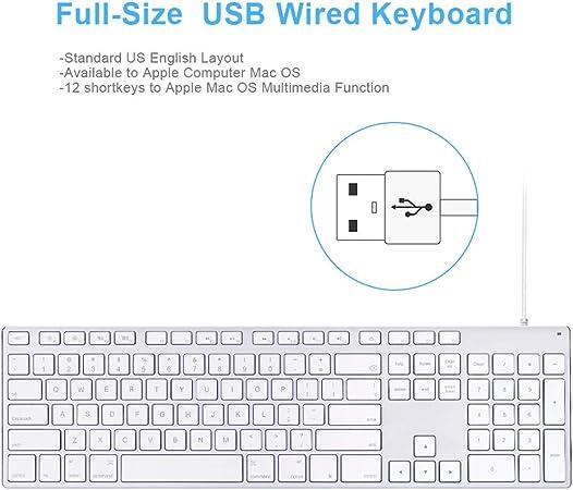 Teclado con cable USB de aluminio con teclado numérico para Apple Mac Pro, Mini Mac, iMac, iMac Pro, MacBook Pro/Air