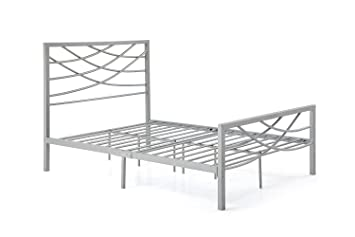 hodedah import hi905 q silver metal bed queen silver - Silver Metal Bed Frame