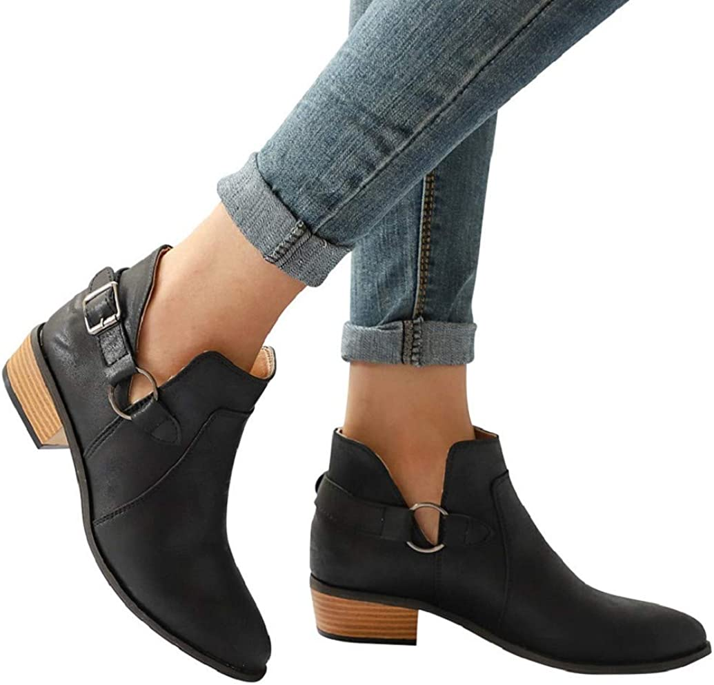 Women Almond Toe Western Ankle Booties Buckle Chunky Stacked Low Heel Side V Cut Martin Short Boots Shoes by Nevera