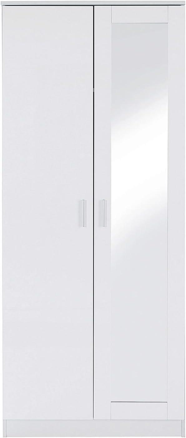 Deerchair Furniture OTTAWA RANGE 2 DOOR MIRRORED WARDROBE W//HANGING RAIL STORAGE WHITE GLOSS EFFECT