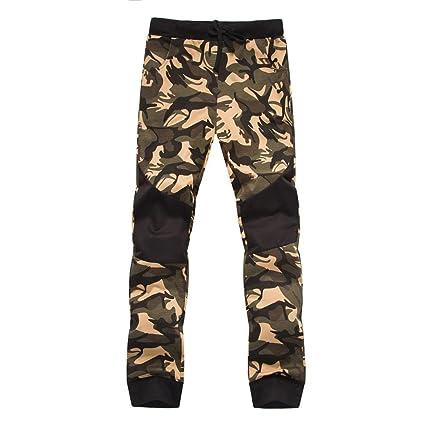 Pantalones hombre camoflage,Sonnena Deportivo Jogger Patrón de vintage Camoflage estampado Estilo Urbano Elástico Pantalones