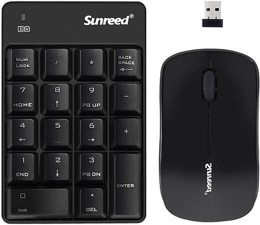 Teclado numérico y ratón inalámbricos, USB inalámbrico Teclado y ratón para Ordenador portátil Escritorio portátil (Color Blanco) Mini Black