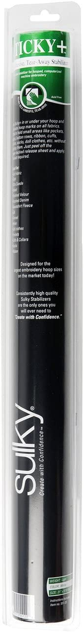 7-1//2 by 9 White Sulky of America 12 Count Sticky Plus Self-Adhesive Tear-Away Stabilizer