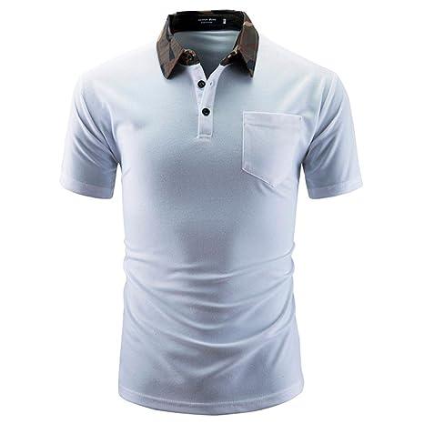 Polo camisa hombres Monótono - Camiseta de Hombres lässige manga ...