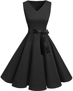 90bb56856a6 Bridesmay Women s V-Neck Audrey Hepburn 50s Vintage Elegant Floral  Rockabilly Swing Cocktail Party Dress