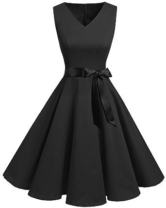 Bridesmay Women s V-Neck Audrey Hepburn 50s Vintage Elegant Floral  Rockabilly Swing Cocktail Party Dress 08e441bd4