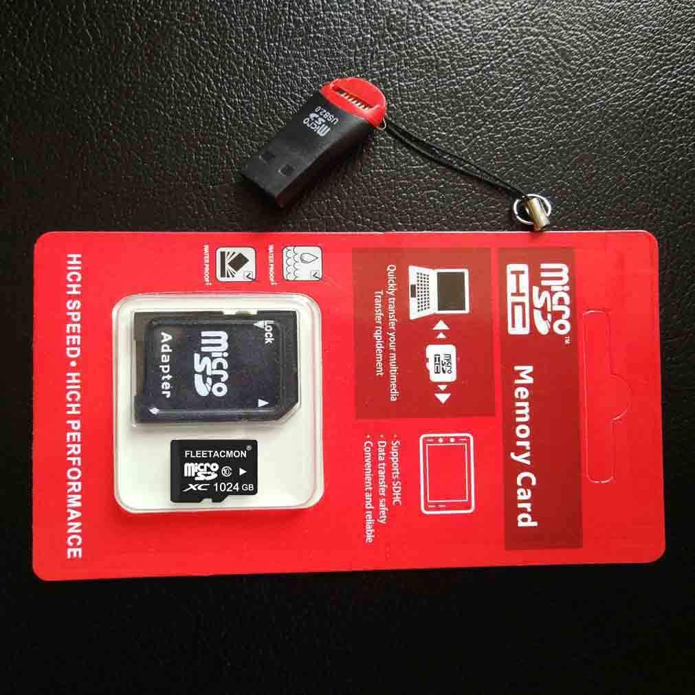 FLEETACMON 1024GB Micro SDHC SD TF Memory Card Class10 with Micro SD Adapter 1024G 1TB Black + Reader