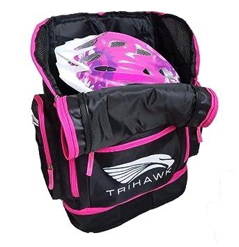 Tamaño grande bolsa de natación triatlón, encaja en natación, aletas, ciclo casco. Wet Dry compartimentos tela repelente al agua niños/adultos (rosa): ...