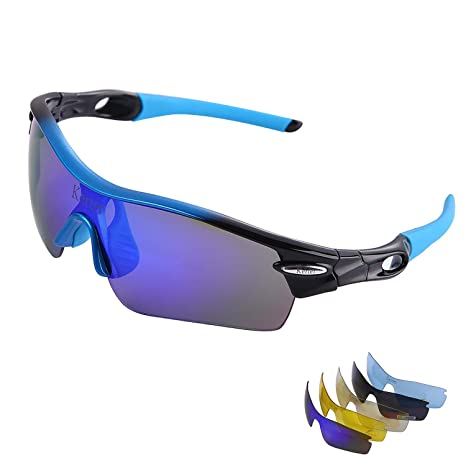 9aec01f85197 Kerter Polarized Sports Sunglasses Driving Glasses UV400 with 5  Interchangeable Lenes for Men Women Cycling Running