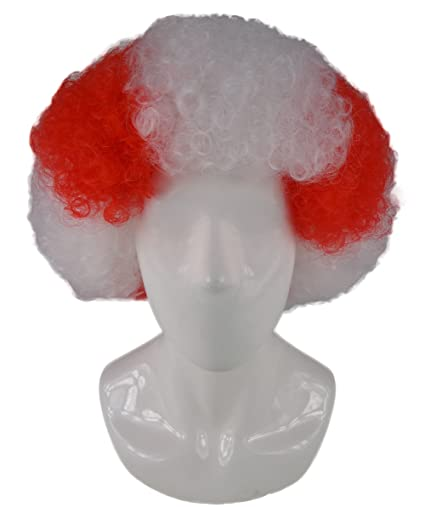 Atletico de Madrid Football Club blanco y rojo de fiestas de disfraces peluca afro hm-