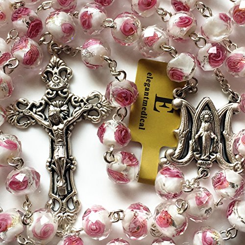 (elegantmedical Handmade Rose Pink Veluriyam Rose Beads Rosary & Italy Cross Medal Catholic Necklace Gift Box)