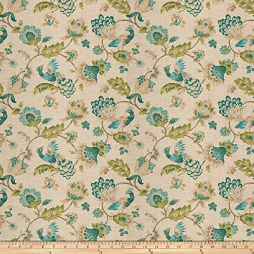 Jaclyn Smith 03713 Peacock Linen Fabric by The Yard (Drapes Smith Jaclyn)