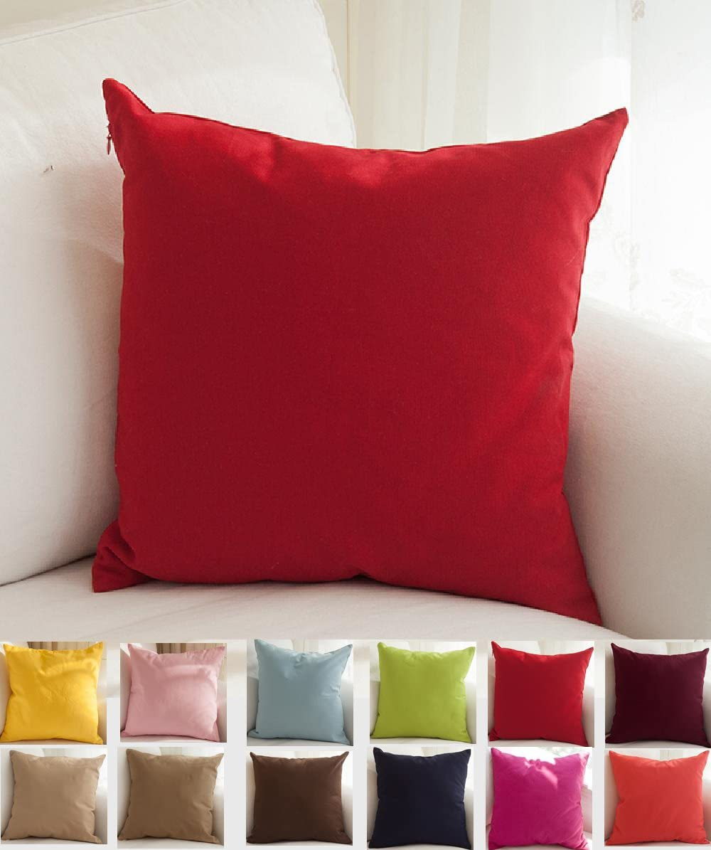TangDepot Handmade Decorative Solid 100/% Cotton Canvas Throw Pillow Covers//Pillow Shams, 12x12, Christmas Red