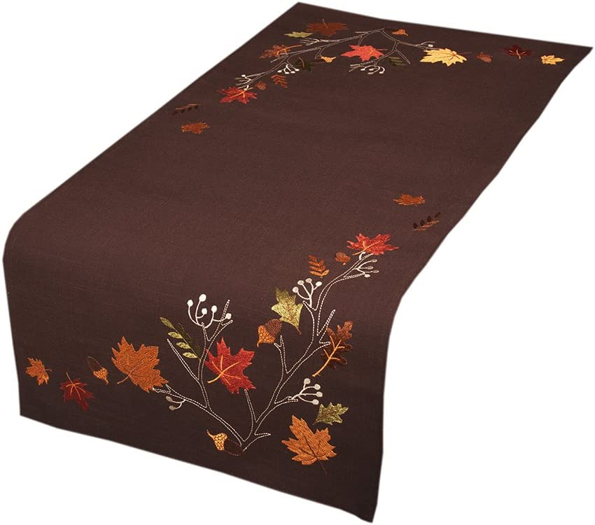 Xia Home Fashions XD17147 Autumn Branches Embroidered Fall Table Runner, 16 by 36-Inch, Coffee