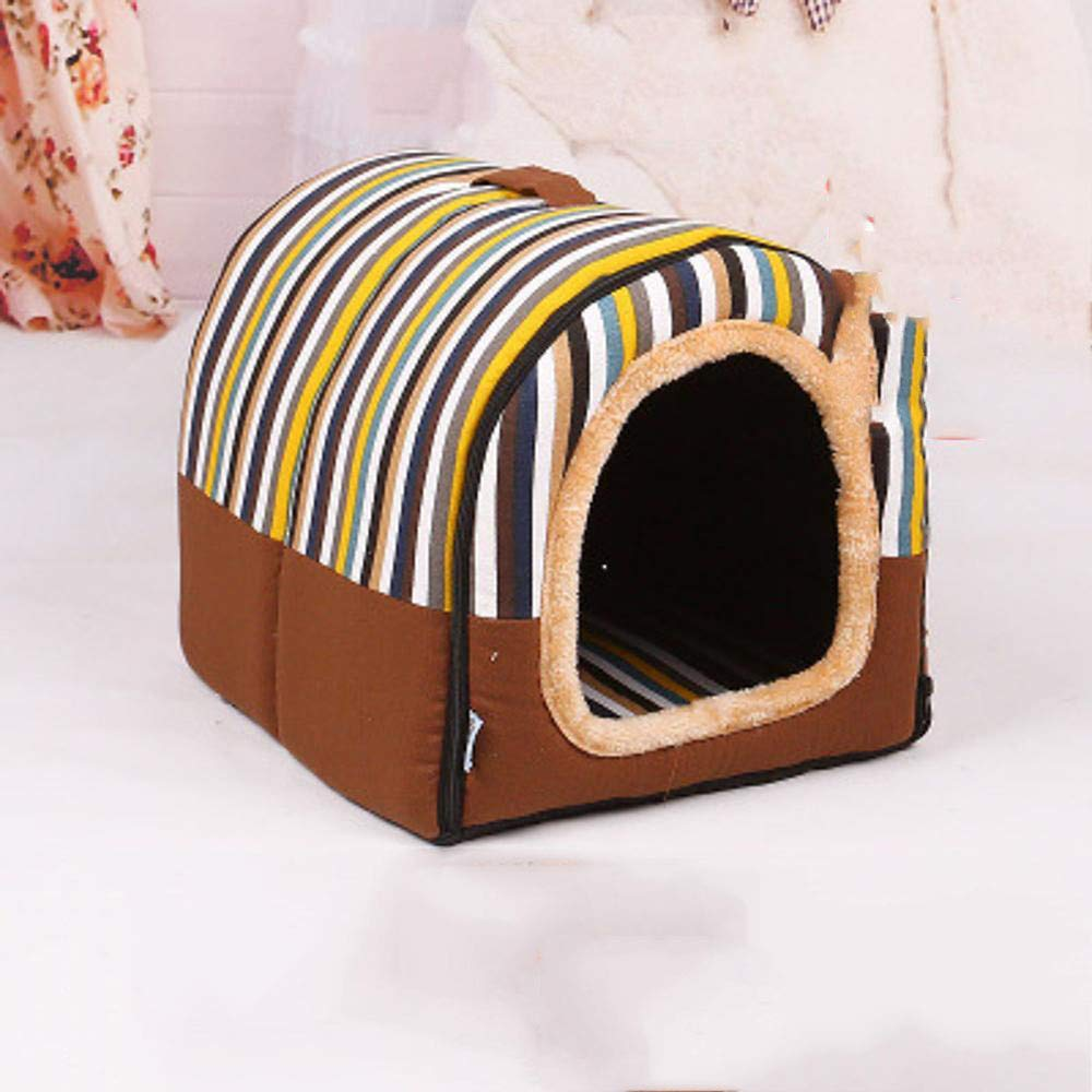 A MediumYYT Pet Bed Washable sleeping bag yurts Winter warm enclosed for the Teddy cat Mat S M L