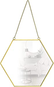 SING F LTD Large Size 30x26cm Hanging Wall Mirror Hexagonal Decor Brass Frames Home Bathroom Bedroom Living Room Entryway Modern Vintage