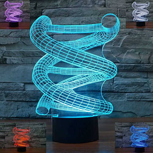 SUPERNIUDB 3D DNA Abstract Night Light 7 Color Change LED Table Lamp Xmas Toy Gift (Lamp Bedroom United Manchester)