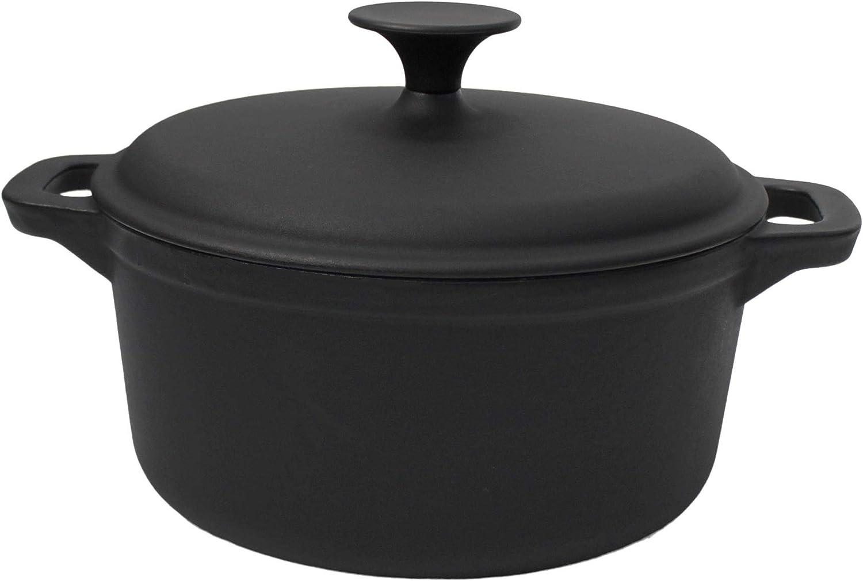 Guison esmaltado Hierro Fundido Cacerola con Tapa, Negro, 5,5L