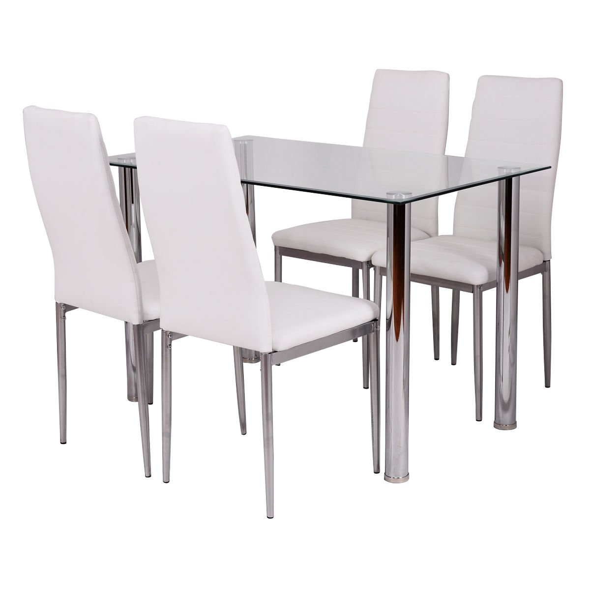 Tangkula 5 PCS Dining Table Set Glass Table and Metal Chairs Home Dinette Furniture (White)