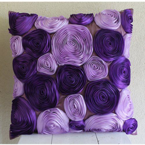Handmade Purple Accent Pillows, Ribbon Purple Flower Pillows Cover